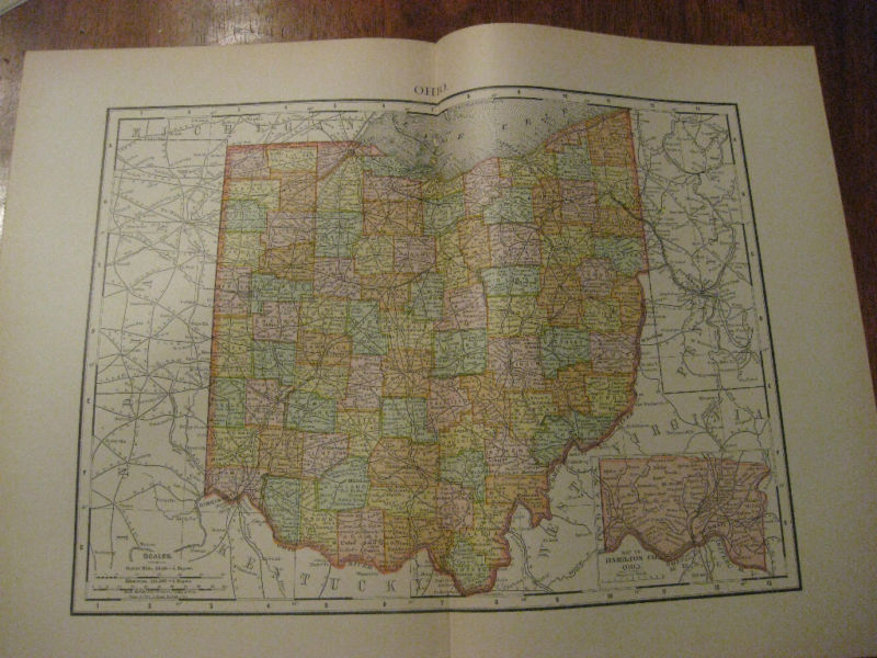 Nice Antique Map of Ohio c.1895
