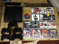 PS3 120G slim with 5 controllers and 15 games