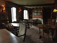 Pub furniture decor and kitchen equipment, chairs, tables, antiques, brass collectables, scales.