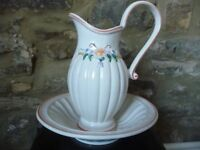 Jug and Bowl Set with Decorative Floral Pattern FINAL REDUCTION!