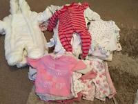 Huge bundle of baby girls clothes, newborn, first size, up to 1 month. 53 items