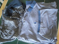 Blue & White (narrow) Stripe M&S Men's Collared XL Casual Top and Blue Collared Casual Top - L