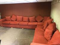 As new very large fabric corner sofa