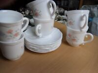 "Arcopal teaset 6cups /saucers and sugar bowl ""sweet pea pattern"""