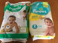 Approx20 x Mamia size 3 and 30 x Pampers size 2 for sale