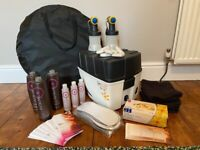Spray tanning machine, tent and products