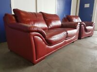 RED LEATHER DESIGNER LOUNGE SUITE 3 SEATER SOFA & ARMCHAIR MADE BY FR DELIVERY AVAILABLE