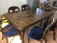 Old dining table, 6 chairs