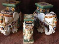 Ceramic Plant Pot Stands set of 3 Vintage Elephant design