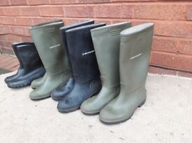 Dunlop wellies x 4 pair's size 9&10