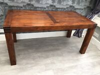 Real dark wood chunky dining table