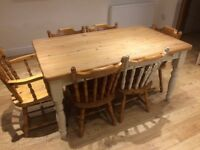 Farmhouse table and 6 chairs shabby chic