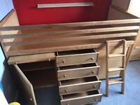 Children's solid ash cabin bed, wardrobe & desk from Children's Bed Centre