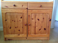 Double shelved, two door Pine cupboard with twin drawers