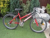 girls 24inch wheeled mountain bike suit age upto 10yrs old £40.00