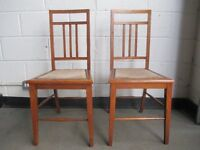 PAIR OF VINTAGE SOLID OAK INLAID CHAIRS WITH STUDDED SEATS FREE DELIVERY