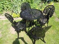 CAST ALUMNIUM GARDEN / PATIO SET -- TABLE AND 4 CHAIRS - BLACK -