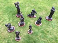 Collection of 8 cold cast bronze figures
