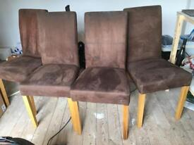 4 suede effect dining chairs