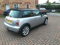 MINI COOPER 1.6, FULL GLASS SUNROOF, MILEAGE 57000, BLACK LEATHER, SERVICE HISTORY, MOT MARCH 2017
