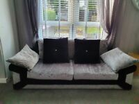Sofas 3 plus 2 seater silver and black crushed velvet