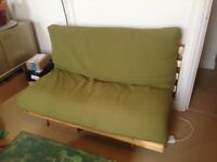 Double futon sofa bed with brand new green cover