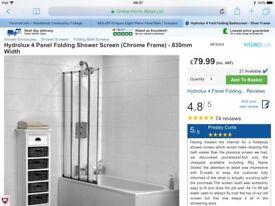 Hydrolux 4 panel folding shower screen (chrome frame) x 2
