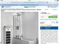 Hydrolux 4 panel folding shower screen (chrome frame) x 2
