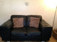 DFS 2 Seater Sofa and 2 Matching Chairs in Real Leather For Sale
