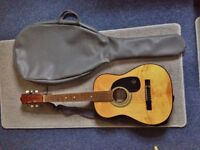 Kay G 101 Acoustic Guitar with Case and Shoulder Strap. Good condition but missing plastic knob