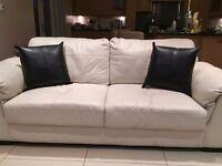 Cream 3 Seat Leather Sofa