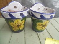 2 SMALL CERAMIC WALL PLANT HOLDERS