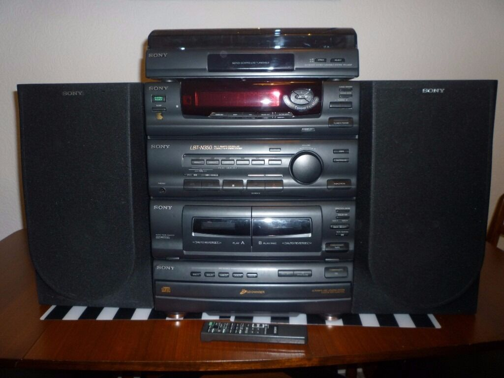sony compact hifi stereo system turntable 5 cd changer x2. Black Bedroom Furniture Sets. Home Design Ideas