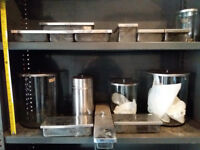 Selection of 14 glass jars & dishes, stainless steel lids, not air-tight.