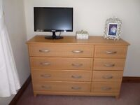 2 as new identicle double wardrobes and matching chest of drawers.