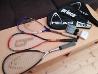 Three squash racquets + 3 cases+ 2 balls and more