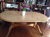 SOLID OLD PINE DINING OVAL TABLE 204cm x 102