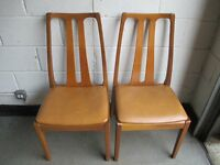 PAIR OF VINTAGE NATHAN TEAK DINING CHAIRS FREE DELIVERY