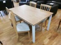 2 tone dining table with 4 chairs slight damage (see pics)