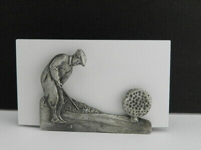 Vintage Pewter Golf Business Card Holder Double Sided Man Playing Metal Heavy