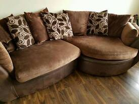 Corner suite, cuddle chair and pouffe