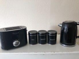 Toaster kettle & tea coffee and sugar set