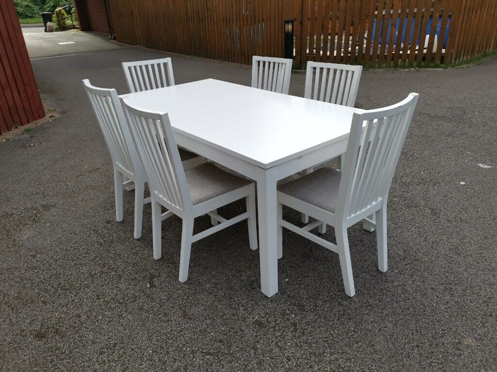 Peachy Ikea Bjursta Extending White Table 140 220Cm 6 Norrnas Chairs Free Delivery 546 In Leicester Leicestershire Gumtree Pdpeps Interior Chair Design Pdpepsorg