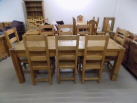 Beautiful 7FT Rustic Solid Pine Table With & 8 Ladderback Chairs