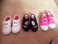 Three pairs of girls trainers/ pumps size 7, new