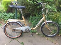 "Vintage Retro Hawkes cycles 3 speed folding bike,20"" wheels,mudguards/back pannier"