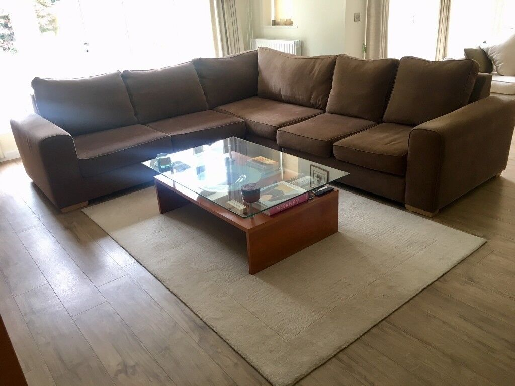 Very Comfortable Large L Shaped Sofa In Brown Fabric