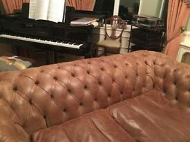 Tan Leather chesterfield style two seater sofa