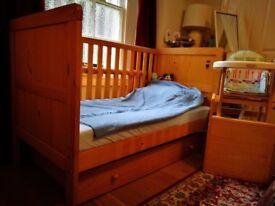 BabyStart Delfina Nursery 5 Pieces Furniture Set - Pine + High-Chair Bonus