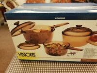 Visions Glass Saucepan Set, 6 piece (3 pans 3 lids), Corningware Glass-Ceramic